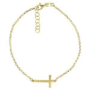 Gold Plated Sideways Cross CZ Bracelet